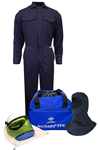 - National Safety Apparel KIT2CV08NGB2X ArcGuard HRC 2 Arc Flash Kit with 8 Cal/sq cm Ultra Soft Coverall and Balaclava Knit Hood, 2X-Large, Navy