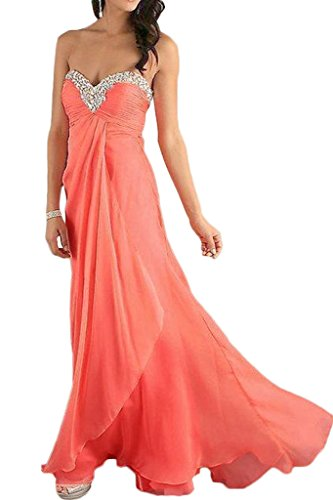 La_mia Braut Einfach Orange Herzausschnitt Abendkleider Partykleider Ballkleider Abiballkleider Lang Chiffon Rock