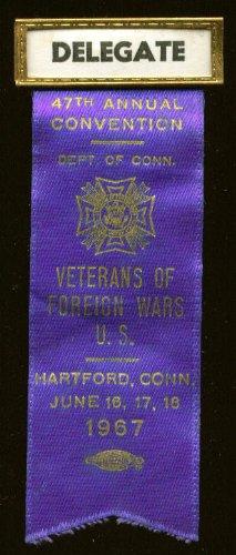 47th VFW Convention Hartford CT 1967 delegate pin (Delegate Pin)