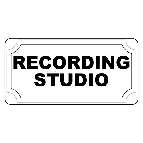 (New Great Plastic Sign Recording Studio Black Office Sign for Outdoor & Indoor 3x8 Inch)