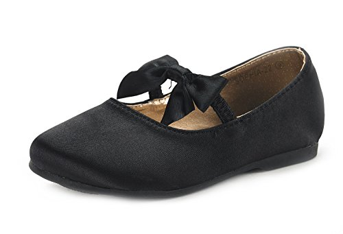 Black Satin Kids Flat Shoes - DREAM PAIRS SOPHIA-22 Adorables Mary Jane Front Bow Elastic Strap Ballerina Flat Little Kid New Black Size 2
