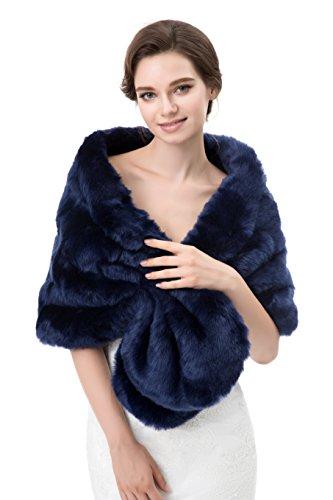 Wowbridal Women's Winter Warm Faux Fur Shawl Coat Jacket Parka Outerwear (Faux Silk Coat)