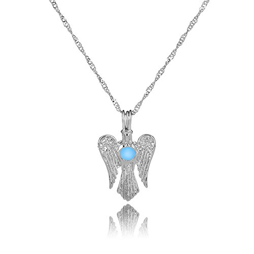 GYXYZB Fashion Luminous Pearl Necklace Tricolor Embroidered Wing Pendant
