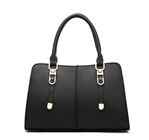 Wewod 2016 nuevas mujeres bolso bandolera de cuero superior de la PU de hombro ocasional del bolso del bolso del mensajero del monedero 31 x 20 x 14 cm (L*H*W) Negro