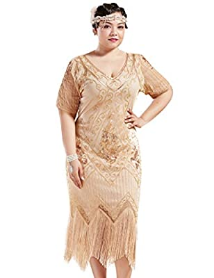 BABEYOND Plus Size 1920s Art Deco Fringed Sequin Dress Flapper Gatsby Costume Dress for Women