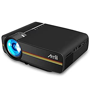 Artlii Mini Proyector, 1200 Lúmenes LED Portátil Casero HD 1080P Vídeo Proyectores VGA/USB/SD/AV/HDMI (Negro)