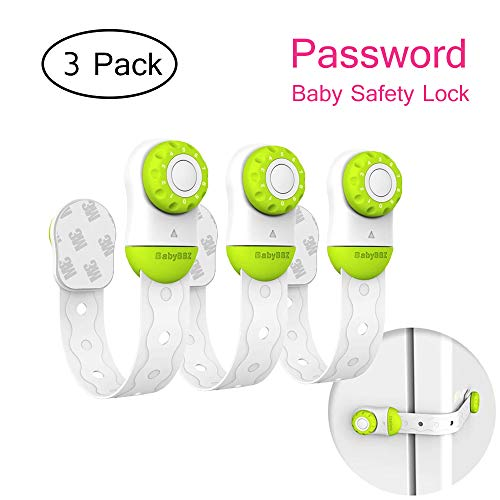 (Baby Safety Locks - Vdealen 3 Pack Password Baby Child Proof Locks Adjustable Strap with 3M Adhesive for Electronic Appliances and Furniture Cabinet, Refrigerator, Oven, Drawers, Toilet, etc)