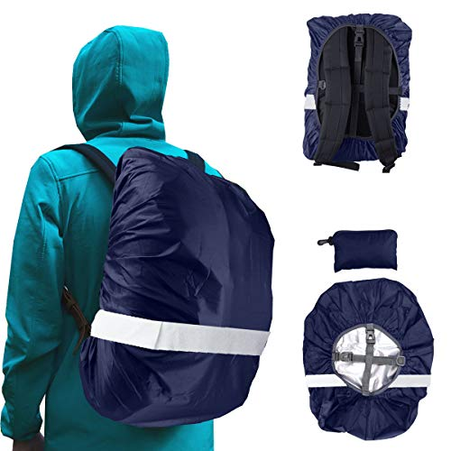 Frelaxy Waterproof Backpack Rain Cover with Hi-Visibility Reflective Strip, Ultralight Compact Portable (Midnight Blue, XL)