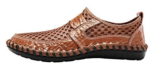 LOUECHY Herren Ocheso Slip-On Loafers Wanderschuhe Atmungsaktive Netze Wasser Schuhe Ocker