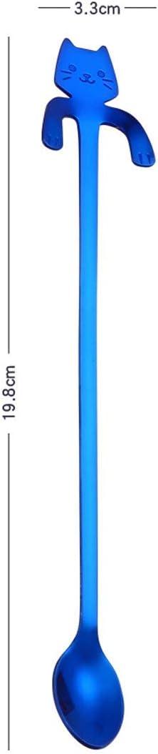 Kaffeel/öffel Edelstahl-R/ührl/öffel 7 St/ück langer Griff Boller Edelstahl-Katzenl/öffel Design mit niedlicher Katze Eisteel/öffel 19,8 cm Schaufel f/ür Tasse