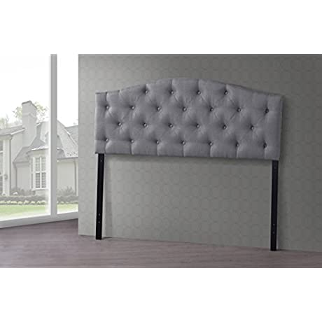 Wholesale Interiors Baxton Studio Myra Modern And Contemporary Fabric Upholstered Button Tufted Scalloped Headboard Full Grey