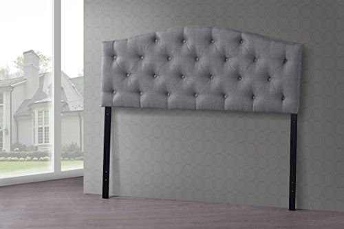 - Baxton Studio Wholesale Interiors Myra Modern and Contemporary Fabric Upholstered Button-Tufted Scalloped Headboard, Queen, Grey