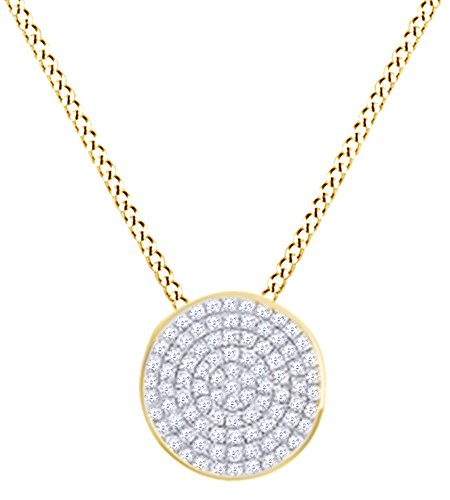 Round Shape White Natural Diamond (0.21 cttw) Pave Disc Pendant In 14k Yellow Gold