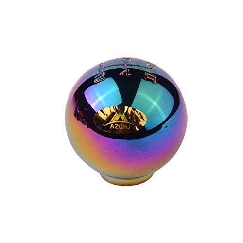 Shifter Chrome Ball - AZQKJ Round ball shape Chrome Aluminum 5 Speed Manual Transmission Stick Shift Knob Universal Fit For Honda Acura Mazda Mitsubishi Nissan Infiniti Lexus Toyota Scion
