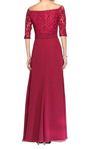 2018 Abendkleider Rot Schulterfrei Damen Ballkleider Langarm Blau Brautmutterkleider Lang Charmant Neu Spitze Halb Ox65wB1