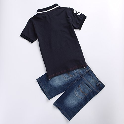 AJia Little Boys' Clothing Sets Polo Tshirt and Denim Shorts Suit (2T)