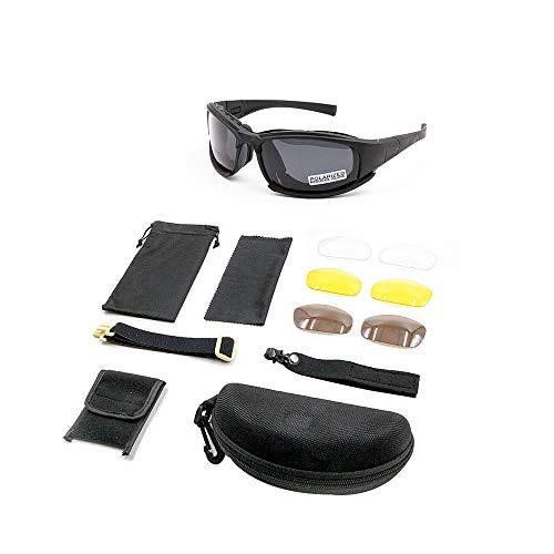 Motionx Polarized Sunglasses,X7 Army Sunglasses Tactical Sunglasses 4 Lens Kit Blocking Glare, UV Blocking Shooting Goggles (Black) ...