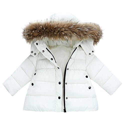 FORESTIME Baby Girls Boys Kids Down Jacket Coat Down Feather Winter Warm Children Clothes (12-18 Months, White)