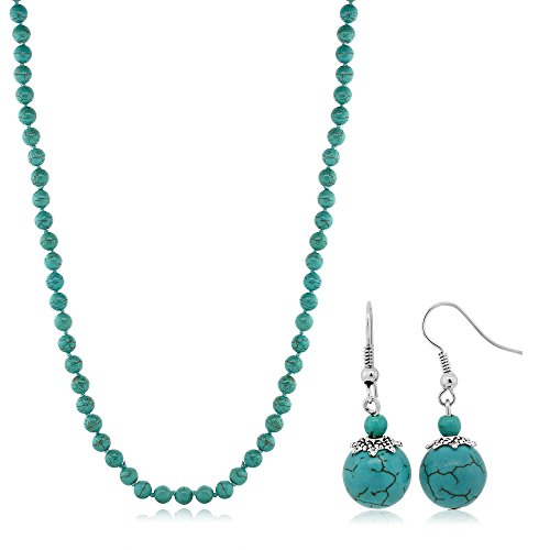 24 Inch Stunning Beads Simulated Turquoise Howlite Necklace and Earrings (Turquoise Gemstone Necklace Earrings)