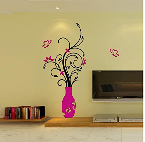 Amazoncom Leyorie Diy 3d Vase Flower Wall Stickers Home Acrylic - Beautiful-wall-stickers-to-decorate-your-house