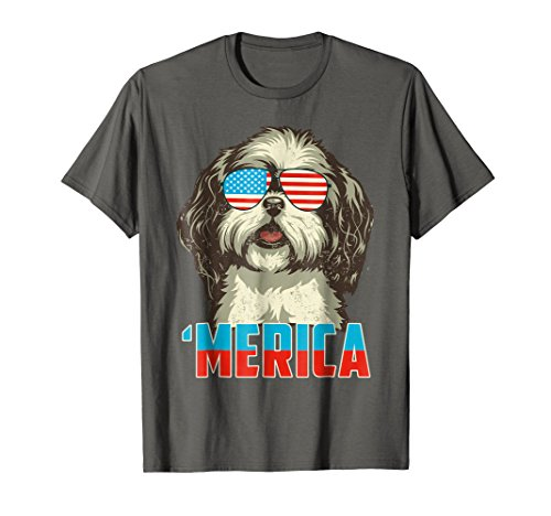 4th of July Patriot Shih Tzu Merica T Shirt for Women Men ()