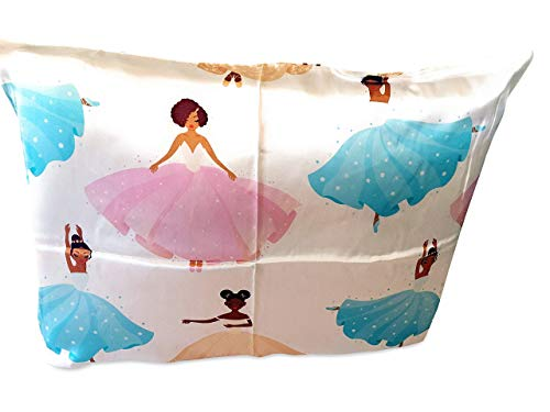 Silk Pillowcase Black Ballerina (100% Organic) for Children, Black Afro Natural Hair Design, Hypoallergenic, Super Soft and Comfortable