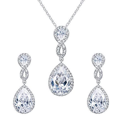 EVER FAITH Wedding 8-Shape Clear Zircon Jewelry Set Austrian Crystal Silver-Tone