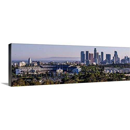 Downtown Los Angeles, California, Dodger Stadium - Panoramic Canvas Wall Art Print, 60