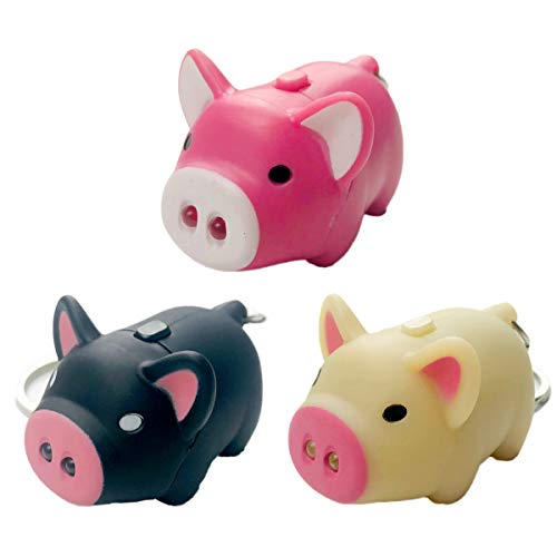 Assho LED Lovely Oink Piggy Keychains Cartoon Child Car Bag Toy-3 Pack
