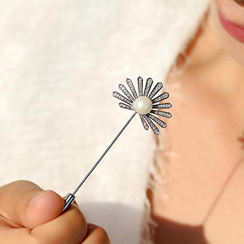 YYOGG Brooch Pearl Pin Feather Fan Word Brooch Versatile Coat Clothing