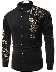 Heren punk-shirt mode lange mouwen bloemenprint knoop revers kraag vrijetijdshemd lange mouwen revers bedrukt casual shirt lange mouwen partyhemd gothic bovendeel met lange mouwen