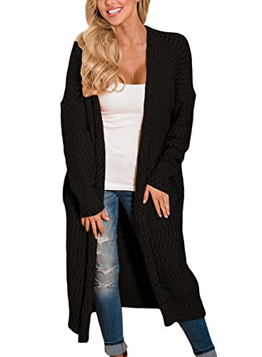 HOTAPEI Women's Autumn Winter Long Mitten Cable Knit Long Sleeve Loose Open Front Cardigan Sweaters Solid Sweater Coats Pockets Black Medium