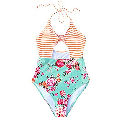 CUPSHE Women's Secret Fragrance Print Halter One-Piece Swimsuit Beach Swimwear at Women's Clothing store