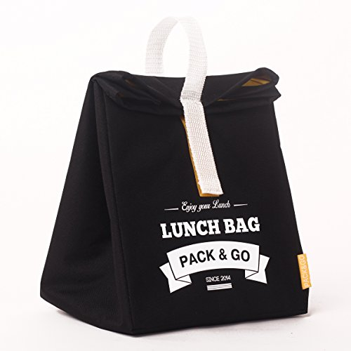 Premium quality Lunch bag unisex L. Lunch box. Washable Picnic bag. Sandwich and snack bag for school or work. Food box. Lunch bags. Made in Europe (Black) ()