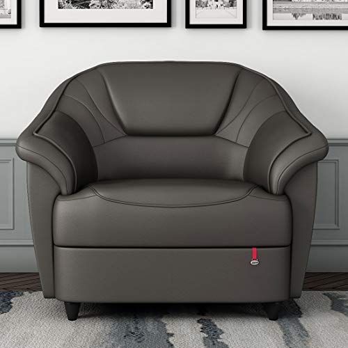 Durian Berry Leatherette 1 Seater Settee Sofa  Graphite Grey
