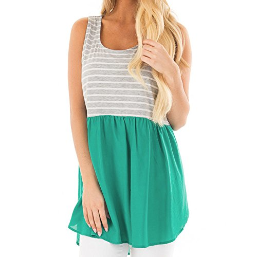 HGWXX7 Women Summer Casual Stripe Chiffon Splice Crop Blouse Camis Vest Tank Top