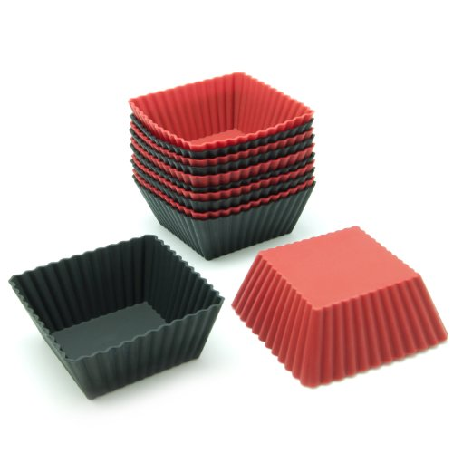 Diamond Silicone Baking Cups - Freshware CB-306RB 12-Pack Silicone Square Reusable Cupcake and Muffin Baking Cup, Black and Red Colors