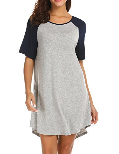 Ekouaer Sexy Sleep Dress Pjs Top Tee Cotton Nightdress Modest Nightgown for Women Black