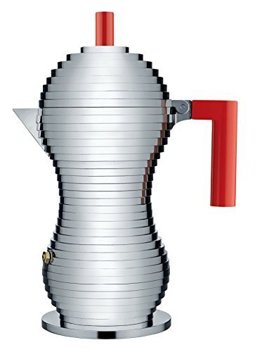 Alessi MDL02/6 R Pulcina Stove Top Espresso 6 Cup Coffee Maker in Aluminum Casting Handle And Knob in Pa, Red by Alessi