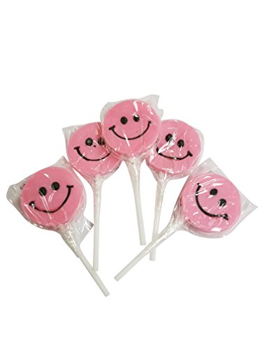Smiley Face Lollipops - Small Happy Smiley Face Lollipops Pink 12 Count