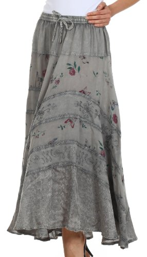 Sakkas 02311 Moon Dance Gypsy Boho Skirt - Charcoal - One Size Photo #2