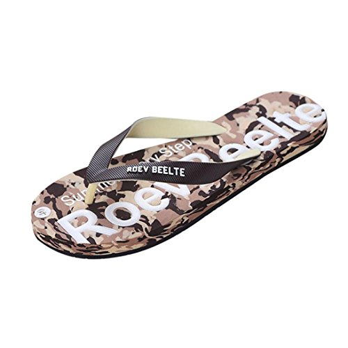 TAOtTAO Men Summer Camouflage Flat Slipper Male Casual Street Style Non-slip Soft Flip Flop Sandal Sports Indoor and Outdoor Sliders Shoes (41, Green) Brown