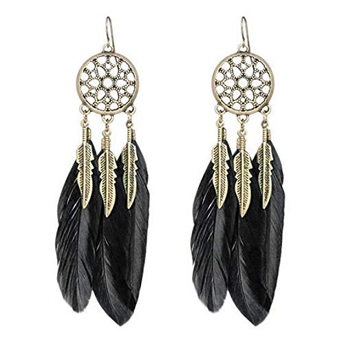 (Feather Long Earrings Jewelry Vintage Dream Catcher Fancy Eardrop Hoops Stud Earring Bohemian Valentine's Day Gift (Black))