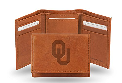 Rico Industries NCAA Oklahoma Sooners Embossed Leather Trifold Wallet, Tan