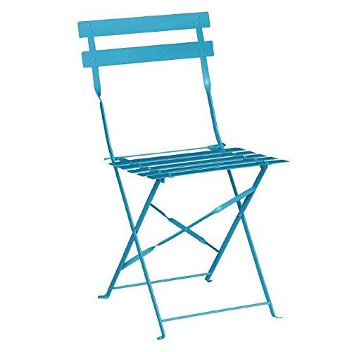 2x Bolero Pavement Style Steel Chairs Seaside Blue 800x387x471mm Furniture