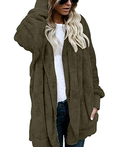 ThusFar Fleece Cardigan Sweaters For Women With Hood Jackets Coats Pockets Army Green L