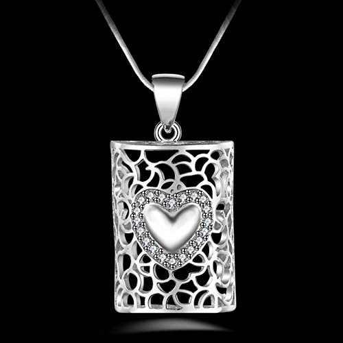 PEISHIHM Female 925 Sterling Silver Necklace Jewelry Fashion Crystal Heart Hollow Pendant Necklace Girl Party Accessories