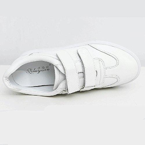 Sports Blanc Lacets de Plates Casuel Loisir Baskets Mode Chaussures Antidérapante Loafers JRenok Femme Cuir Confort Sneakers aEnpqZ