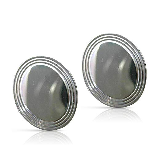Milano Jewelers Tiffany & CO 925 Silver 3 Dimensional Oval ENGRAVABLE Cuff Links #25385