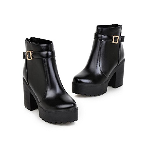 AllhqFashion Womens Soft Material Zipper Round Closed Toe High-Heels Low-top Boots Black qnFCbe6